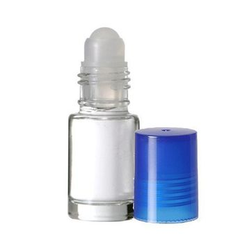 Grand Parfums Aromatherapy 6 Glass Roll on Bottles, Clear Glass & Blue Caps 4ml, 1/8 Oz Dram Bottles for Fragrance, Aromatherapy, Essential Oils, Lip Gloss/Balm
