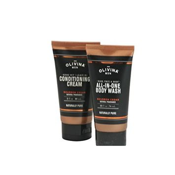 Olivina Men Travel Size All-In-One Body Wash and Conditioning Cream Bundle