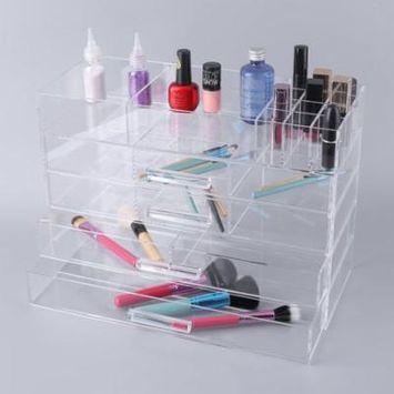 Multifunctional Acrylic Cosmetics Case Large Jewelry & Cosmetic Storage Display Box Portable Transparent Makeup Organizer