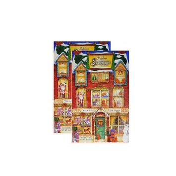 Madelaine Chocolates Christmas Countdown Advent Calendar, Filled With Solid Premium Milk Chocolate Presents Hiding Behind Victorian Village Toy Shop - 2 Pack
