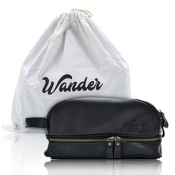 Black Leather Travel Toiletry Bag, Dopp Kit. FREE Gift bag. By Wander Travel and Supply.