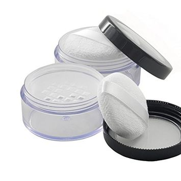 10ml Empty Portable Powder Container Holder Powder Cake Box Dressing Case Makeup Box Case with Powder Puff Great for Loose Powder Blusher--Screw Cap Seal(1 Pcs)