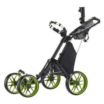 Caddy Tek CaddyTek One-Click Folding 4 Wheel Version 3 Golf Push Cart, Lime