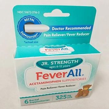 5 Pack Feverall Acetaminophen Suppositories JR Strength 325mg 6 Count Each
