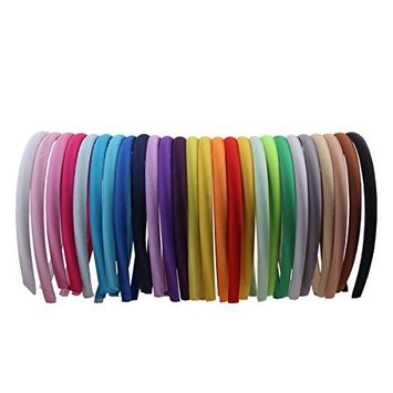 Candygirl Girls' DIY Satin Covered Headbands 1cm Width 36cm Circle Size(26pcs Per Pack Each Color 1pcs)