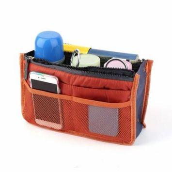 Waterproof Lady Women Cosmetic Makeup Bag Organizer Travel Insert Handbag Holiday Gifts, orange,