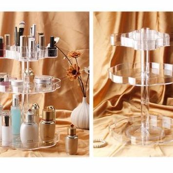 Transparent 360°Rotating Makeup Organizer Case Cosmetic Jewelry Storage Holder Holiday Gifts, transparent,