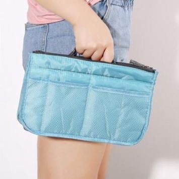 Waterproof Lady Women Cosmetic Makeup Bag Organizer Travel Insert Handbag Holiday Gifts, blue,