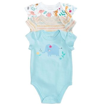 Baby Girls 3-Pack Graphic-Print Cotton Bodysuits, Created for Macy's
