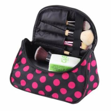 Fashion Travel Portable Cosmetic Bag Makeup Case Pouch Toiletry Wash Organizer,black & rose red
