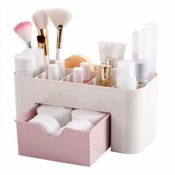 Gift For ChristmasDesktop Makeup Organizer Plastic Storage Box Cosmetic Organizer Storage Case,pink
