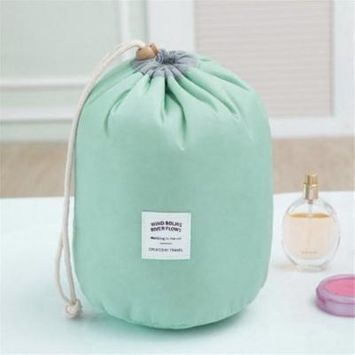 ?Buy 1 Get 1 Free?Waterproof Multifunction Barrel Shape Travel Cosmetic Bag with Drawstring on Clearance,blue