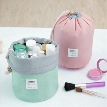 ?Buy 1 Get 1 Free?Waterproof Multifunction Barrel Shape Travel Cosmetic Bag with Drawstring,blue