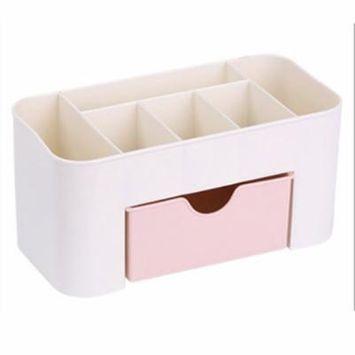 Buy 1 Get 1 FreeDesktop Makeup Organizer Plastic Storage Box Cosmetic Organizer Storage Case,pink