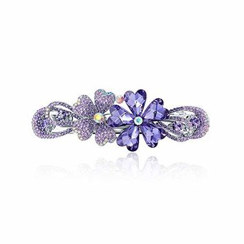CHIMERA Ponytail Barrettes Elegant Purple Flowers Hairpin Luxury Full Shiny Rhinestone Hair Clip Side Clip for Women