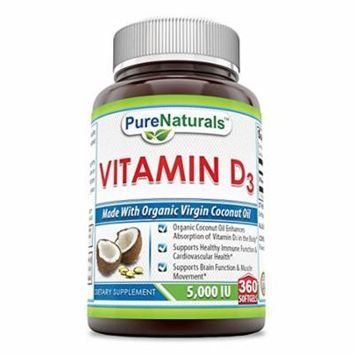 Pure Naturals Vitamin D3 5000 IU 360 Softgels - Made with Organic Virgin Coconut oil * Supports Healthy Immune Function & Cardiovascular Health And Supports Brain Function & Muscle Movement *…