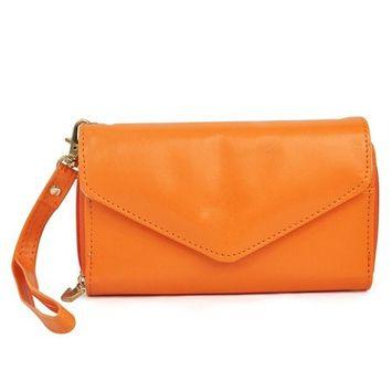 Veroda Women's Crown Purse Wallet Clutch & Smart Case Pouch Color Orange