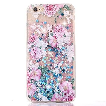 UCLL iPhone 7 Plus Glitter Case, iPhone 7 Plus Liquid Case Rose Floral Print Moving Bling Glitter Floating Cover for iPhone 7 Plus with a Screen Protector