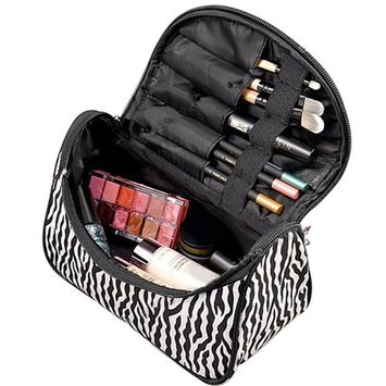 TRADERPLUS Handle Zebra Striepd Large Cosmetic Bag Travel Makeup Organizer Case Holder With Mirror