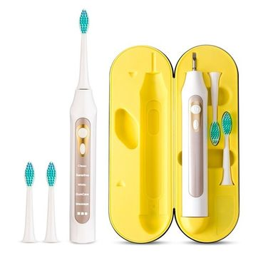 Electric Toothbrush with Case Deep Clean As Dentist Rechargeable Sonic Toothbrush for Travel 5 Brushing Modes 2 Replacement Heads Waterproof