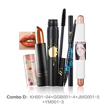 Charming Cosmetic Set, Lotus.flower 4 In 1 Makeup Kit - Concealer Repair Pen Double Brow Eyeliner Pencil Mascara Lipstick Set