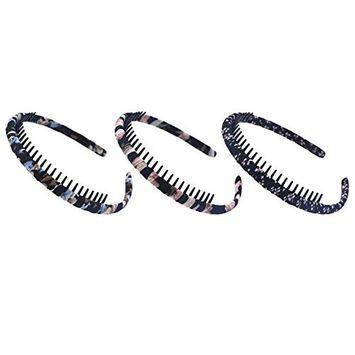 STHUAHE Girls/Women Mixed Color Protection Resin Teeth Comb Hair Hoop Hairband Headband Headwear Accessory Hair Beauty Tools Pack of 3