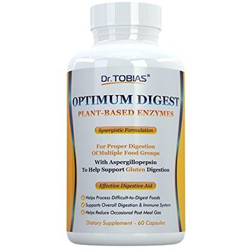 Dr. Tobias Enzymes for Digestion - One of the Best Enzyme Supplements and Most Complete Formulas: 18 Enzymes for Digestive Health, incl Lactase, Amylase, Lipase, Bromelain, Papain, Protease. Non-GMO