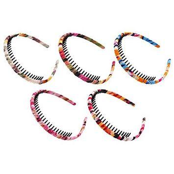 STHUAHE Woman 5PC Bohemia Style Protection Resin Teeth Comb Hair Hoop Hairband Headband Hair Accessories by Beauty Hair