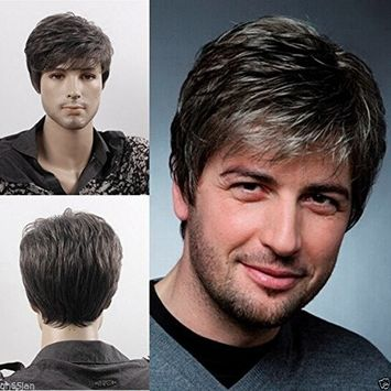 Menoqi Men's Short Straight Layered Wig Side Swept Fringe Hairstyle Heat Resistant Wigs Human Hair Wigs Natural Looking Wigs with Wig Cap WIG079