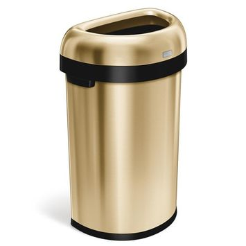 simplehuman 16 Gal. Heavy-Gauge Stainless Steel Semi-round Open Top Commercial Trash Can in Brass