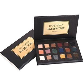 FTXJ HANDAIYAN 18 Colors Eye Shadow Makeup Pearl Metallic Eyeshadow Palette Makeup (1# GoldenTime( Black))