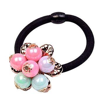 Trenton 10Pcs Girls Faux Pearls Flower Elastic Hair Ties Ponytail Holder Hair Accessories (Multi-Color)