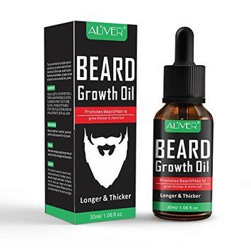 Premium Beard Growth Oil, Aliver Beard Oil Conditioner, 100% Natural Organic Mustache Oil, Promotes Beard Growth - Softens & Strengthens Beards and Mustaches for Men
