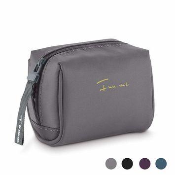 Funme Handy Nylon Cosmetic Bag Portable Zipper Makeup Pouch Lipstick Powder Nail Polish Organizer Travel Carrying Case Kit for Women, Men and Girls
