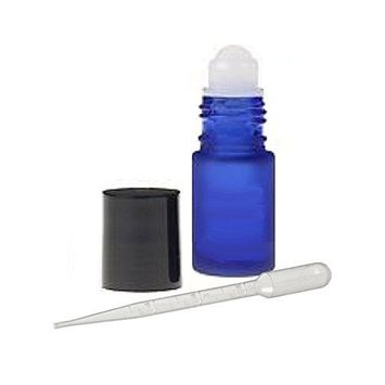 Grand Parfums 6 Glass Roll on Bottles, Cobalt Frosted Blue Glass 4ml, 1/8 Oz for Fragrance, Aromatherapy, Essential Oils, Lip Gloss/Balm