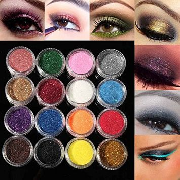 TOBbeauty 12pcs Mixed Colors Eye Shadow Makeup Pigment Glitter Powder Mineral Spangle Eyeshadow Makeup Brightens Randomly Color Flake Chunky Glitter Pots Nail Face Eye Shadow Tattoo Festival Body