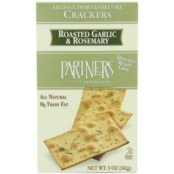 Partners Roasted Garlic & Rosemary Hors D'oeuvre Crackers, 5-Ounce Boxes (Pack of 6)