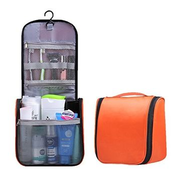 Makeup Bag with Compartments Hanging Cosmetic Bag Toiletry Bags Large Capacity Waterproof Bag Makeup Brushes Accessories Travel Case Color Orange