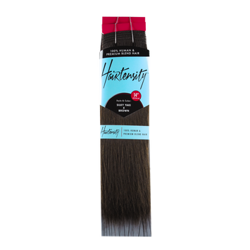 Hairtensity Human and Premium Blend Hair 14 Inch Brown