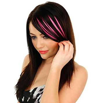CYCTECH New Popular Women Natural Clip In Front Hair Bang Fringe Hair Extension Piece Thin Synthetic Hairpieces Hairdressing (Hot Pink)