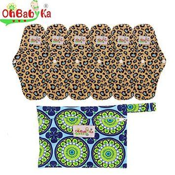 OHBABYKA Bamboo Reusable Sanitary Napkins Pads 6 Pcs, A Wet/Dry Bag