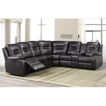 Brassex Inc Brassex Napolean Sectional with 2 Recliners & Storage Console, Chocolate