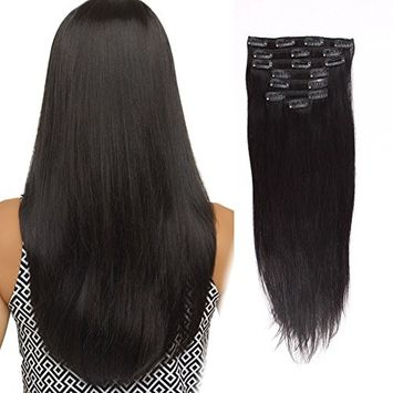 AmazingBeauty Clip In Straight Hair Extensions 8A Grade Silky Thick 100% Virgin Hair 10-22inch 7 Pieces with 18 Clips 120g/4.2oz per Set For Full Head Natural Color 10 inch