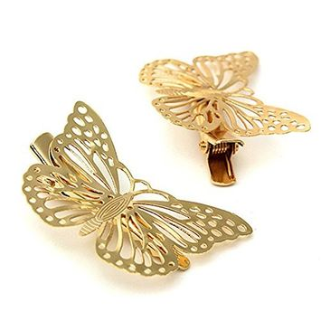 1 Pair Luxury Golden Color Butterfly Hair Clip Hair Pins Hair Accessories