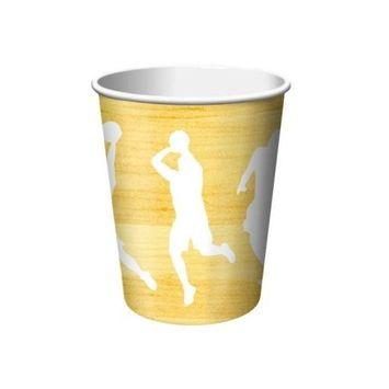 Team Sports Basketball 9oz Paper Cups 8 Per Pack