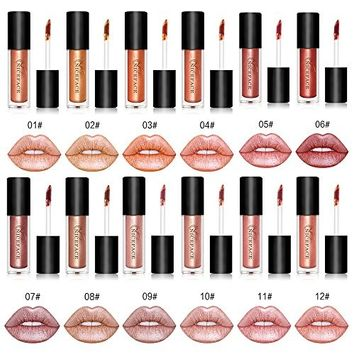 Coosa 12PCS Non-stick Cup Metal Lipstick Waterproof Sparkling Lip Gloss Vivid Color Matte Lip Liquid Long Lasting Makeup 12 Colors Set
