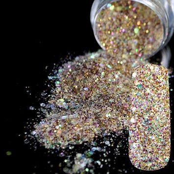 Shining Abalone Transparents Sequins Dust DIY Nail Art Glitter Gem Nail Designs Purple Gold Acrylic UV Mix Glitter Powder 283