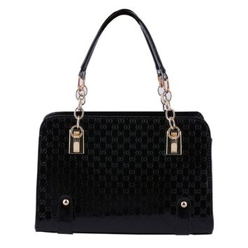 Fashion Women Tote Embossed Handbag Glossy Shoulder Bag PU Leather Black Classical Lady High Quality Messenger Hobo Bag
