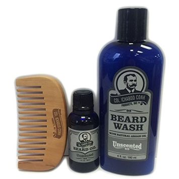 Col Conk Beard Wash Kit with Comb and Beard Oil (Unscented)