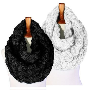 Basico - Basico Winter Chunky Knitted Infinity Scarf Circle Loop 2pk Various Colors (SF1602) [name: actual_color value: actual_color-black&ivory]